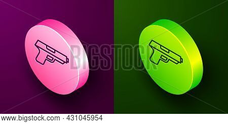 Isometric Line Pistol Or Gun Icon Isolated On Purple And Green Background. Police Or Military Handgu