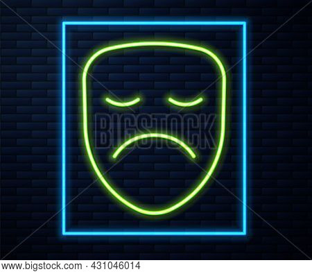 Glowing Neon Line Drama Theatrical Mask Icon Isolated On Brick Wall Background. Vector