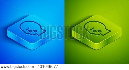 Isometric Line Man Graves Funeral Sorrow Icon Isolated On Blue And Green Background. The Emotion Of