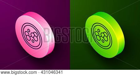 Isometric Line Molecule Icon Isolated On Purple And Green Background. Structure Of Molecules In Chem