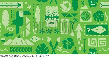 Repeating Tiki Pattern | Seamless Polynesian Wall Art | Tiki Bar Artwork | Tropical Background Desig