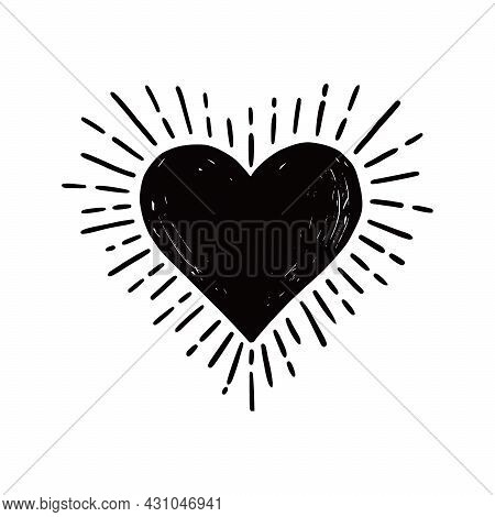 Heart Hipster Sunburst. Hand Drawn Sketch Style. Black Heart Vector Illustration For Grunge Frame, L
