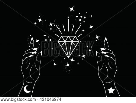 Mystical Woman Hands Alchemy Esoteric Magic Space Stars, Crystal Symbol, Sacred Geometry. Boho Style