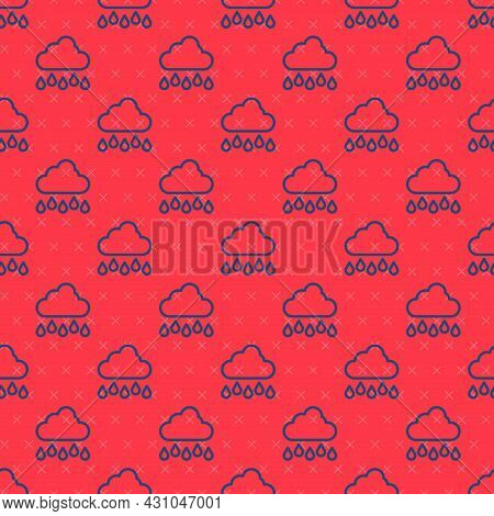 Blue Line Cloud With Rain Icon Isolated Seamless Pattern On Red Background. Rain Cloud Precipitation