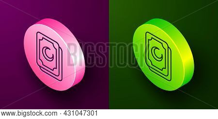 Isometric Line Tarot Cards Icon Isolated On Purple And Green Background. Magic Occult Set Of Tarot C