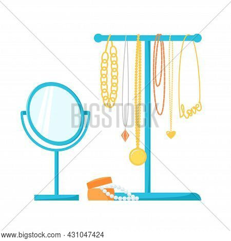 Jewelry Holder With Different Necklaces, Chains, Beads. Jewellery Stand, Round Table Mirror And Pear