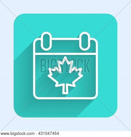 White Line Canada Day With Maple Leaf Icon Isolated With Long Shadow Background. 1-th Of July Indepe