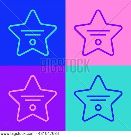 Pop Art Line Walk Of Fame Star On Celebrity Boulevard Icon Isolated On Color Background. Hollywood,