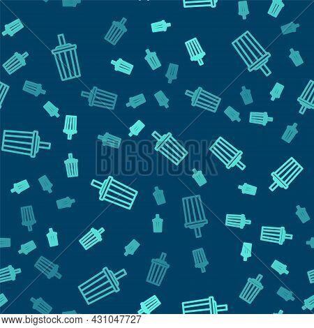 Green Line Paper Glass With Drinking Straw And Water Icon Isolated Seamless Pattern On Blue Backgrou