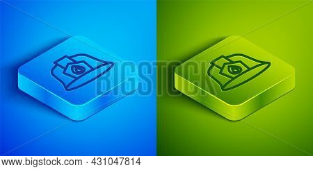 Isometric Line Firefighter Helmet Or Fireman Hat Icon Isolated On Blue And Green Background. Square