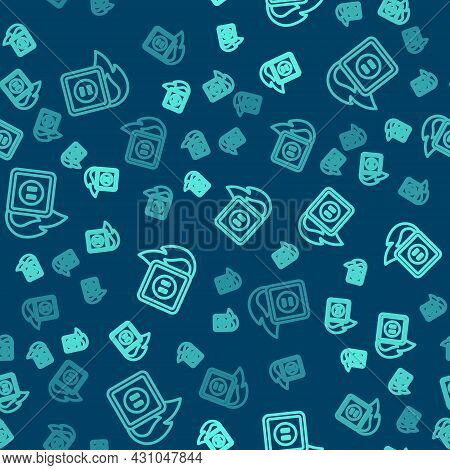 Green Line Electric Wiring Of Socket In Fire Icon Isolated Seamless Pattern On Blue Background. Elec