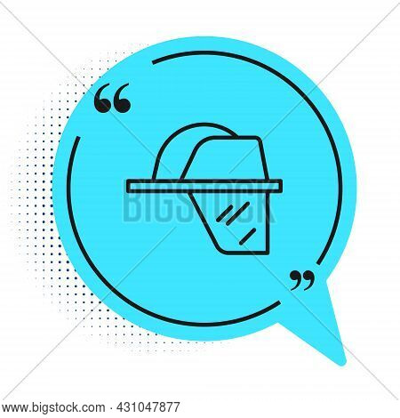 Black Line Firefighter Helmet Or Fireman Hat Icon Isolated On White Background. Blue Speech Bubble S