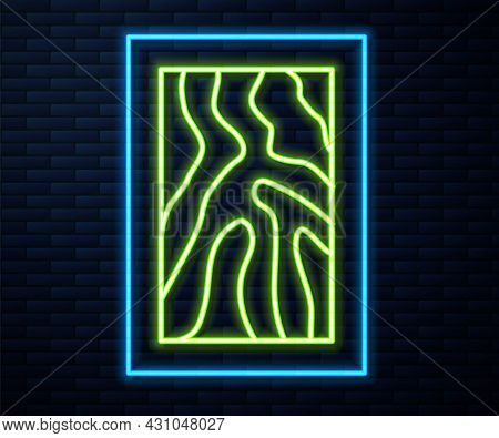 Glowing Neon Line Wooden Beam Icon Isolated On Brick Wall Background. Lumber Beam Plank. Vector