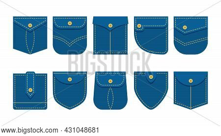 Denim Patch Pocket Shirt Vector Set Different Shape, Jeans Clothes Isolated On White Background. Gar