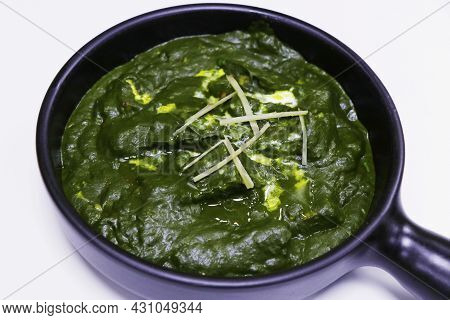 Palak Paneer Isolated, Indian Cottage Cheese And Spinach Curry Dish