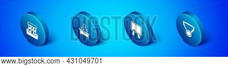 Set Isometric School Building, Chalkboard, Medal And Schoolboy Sitting At Desk Icon. Vector