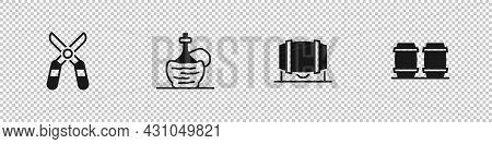 Set Gardening Scissors, Wine Italian Fiasco Bottle, Wooden Barrel For Wine And Icon. Vector