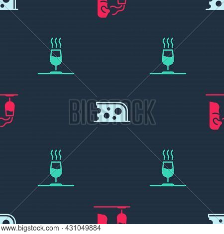 Set Sommelier, Cheese And Wine Tasting, Degustation On Seamless Pattern. Vector