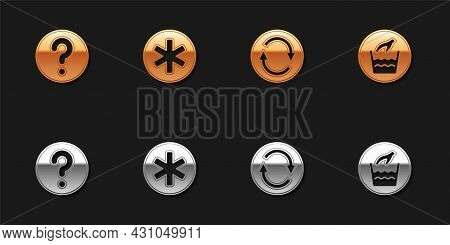 Set Unknown Search, Medical Symbol Of The Emergency, Recycle And Hand Wash Laundry Icon. Vector