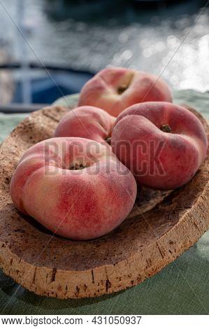 Fresh Ripe Flat Peaches Prunus Persica Or Doughnut Peach Or Saturn Peach