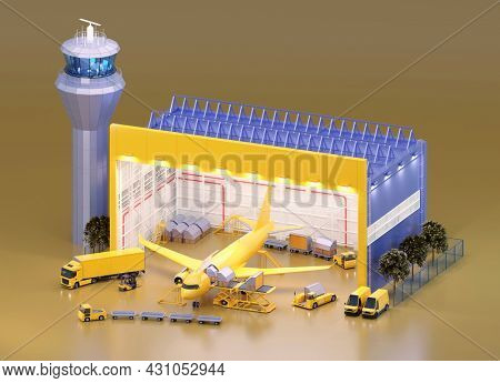 Loading unit load devices on cargo airplane in airport hangar. Aircraft containers, loading platform, airport cargo transporters. Air freight transportation. 3d illustration