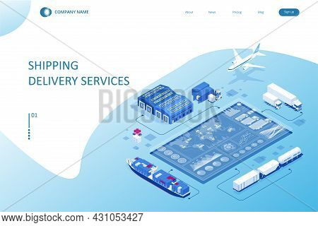 Isometric Logistics And Delivery Concept. Delivery Home And Office. City Logistics. Smart Technology