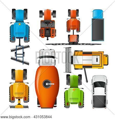 Modern Agriculture Machinery Colorful  Flat Pictograms Collection With Combiner Tractor Harvester An