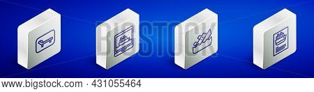 Set Isometric Line Sunbed And Umbrella, Cruise Ship, Sinking Cruise And Icon. Vector