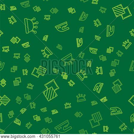 Set Line Needle Bed And Needles, Textile Fabric Roll And Electric Iron On Seamless Pattern. Vector