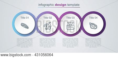 Set Line Fish Steak, Fishing Harpoon, Whale Tail Ocean Wave And Mussel. Business Infographic Templat