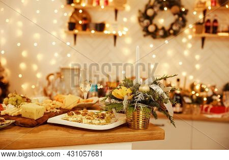 Festive Cheese And Wine Tasting Party. Tasting Dish On A Plate. Food For Wine. Delicious Cheese Mix