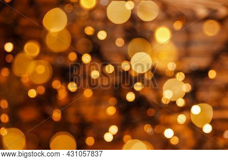 Abstract Gold Bokeh Light Night Luxury Background. New Year, Holiday Blurred Background. Holiday, Be