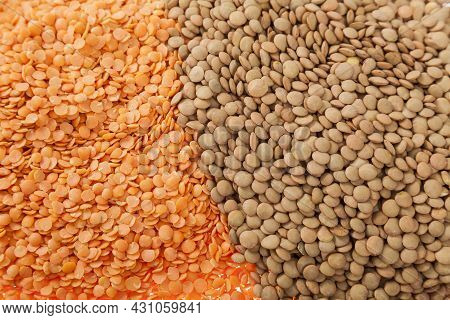 Very Healthy Food; Raw Lentils And Peeled Red Lentils