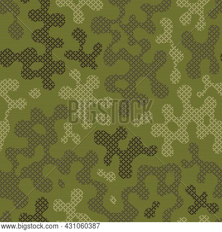 Green Cross Stitch Camouflage Seamless Pattern For Your Design. Fashionable Emerald Color Knit Fabri