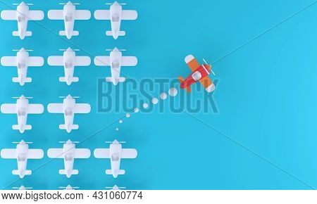 3d Group Of White Planes In One Direction And One Red Plane Pointing The Other On A Blue Background.
