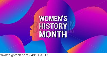 Women's History Month Is Celebrated In March. Text On Background, Abstract Gradient Pattern, Woman S