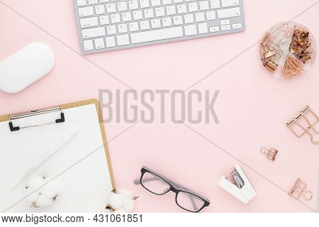 Office Desk Table Top View With Office Supply, Pink Table With Copy Space, Pink Color Workplace Comp