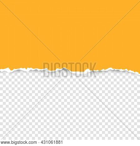 Torn Strip Of Orange Paper With A Light Shadow On A Transparent Background. Torn Cardboard.