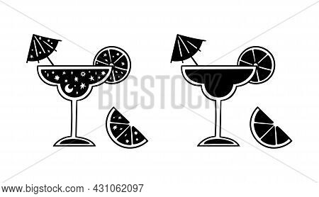 Margarita Alcohol Cocktail Black And White Isolated Clipart, Summer Tropical Drink In Glass With Lem