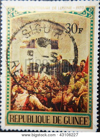 REPABLIQUE DE GUENEE - CIRCA 1970: stamp printed by Guenee shows portrait of Socialist lider Lenin
