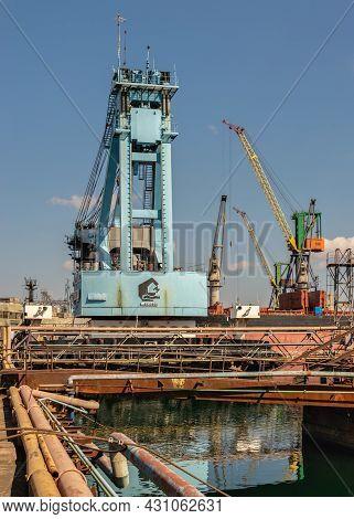 Large Shipyard Crane In Chernomorsk, Ukraine