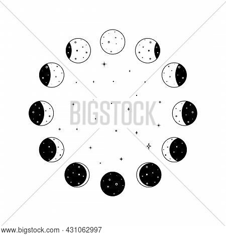 Circular Set Of Moon Phases Icon With Shining Stars Inside In Black Outline Silhouette. Whole Astron