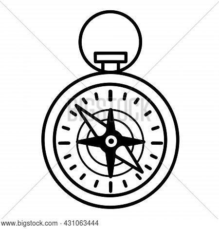 Compass Vector Icon. Hand Drawn Doodle On A White Background. Hiking Equipment For Orienteering On T