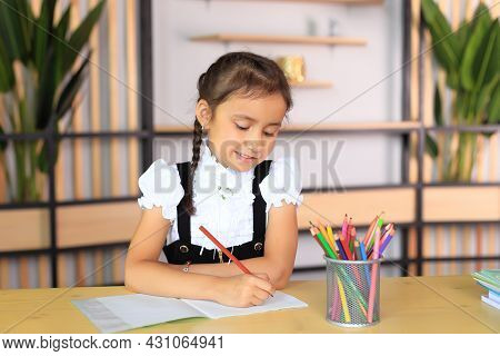 Portrait Of A Girl In A School Uniform With Notebooks In Her Hands. Young Schoolgirl In The Class. T