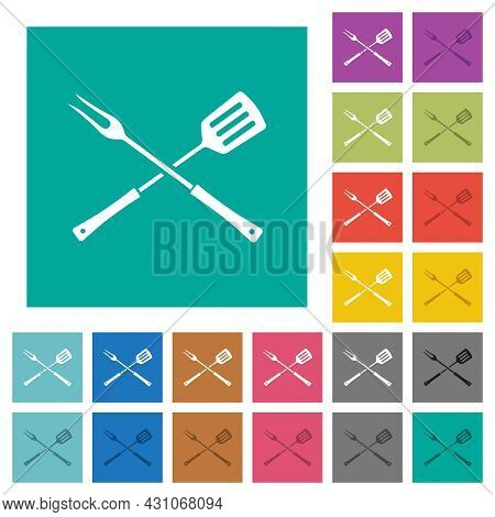Barbecue Fork And Spatula In Crossed Position Multi Colored Flat Icons On Plain Square Backgrounds.