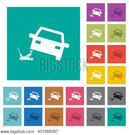 Car Repair Multi Colored Flat Icons On Plain Square Backgrounds. Included White And Darker Icon Vari