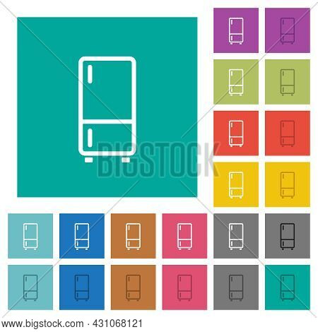 Refrigerator Outline Multi Colored Flat Icons On Plain Square Backgrounds. Included White And Darker