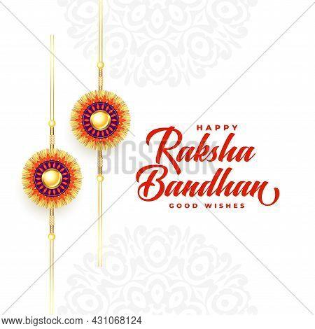 Beautiful Raksha Bandhan Festival Wishes Card Design Vector Illustration