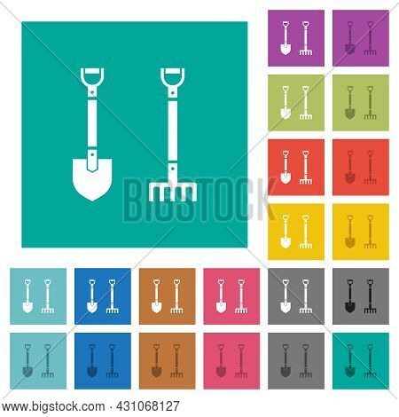 Shovel And Rake Multi Colored Flat Icons On Plain Square Backgrounds. Included White And Darker Icon