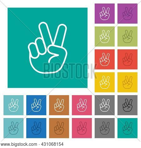 Victory Sign Hand Gesture Multi Colored Flat Icons On Plain Square Backgrounds. Included White And D
